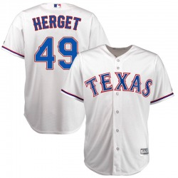 Jimmy Herget Texas Rangers Youth Replica Majestic Cool Base Home Jersey - White