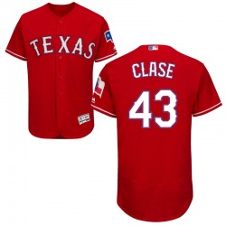 Emmanuel Clase Texas Rangers Men's Authentic Majestic Flex Base Alternate Collection Jersey - Red